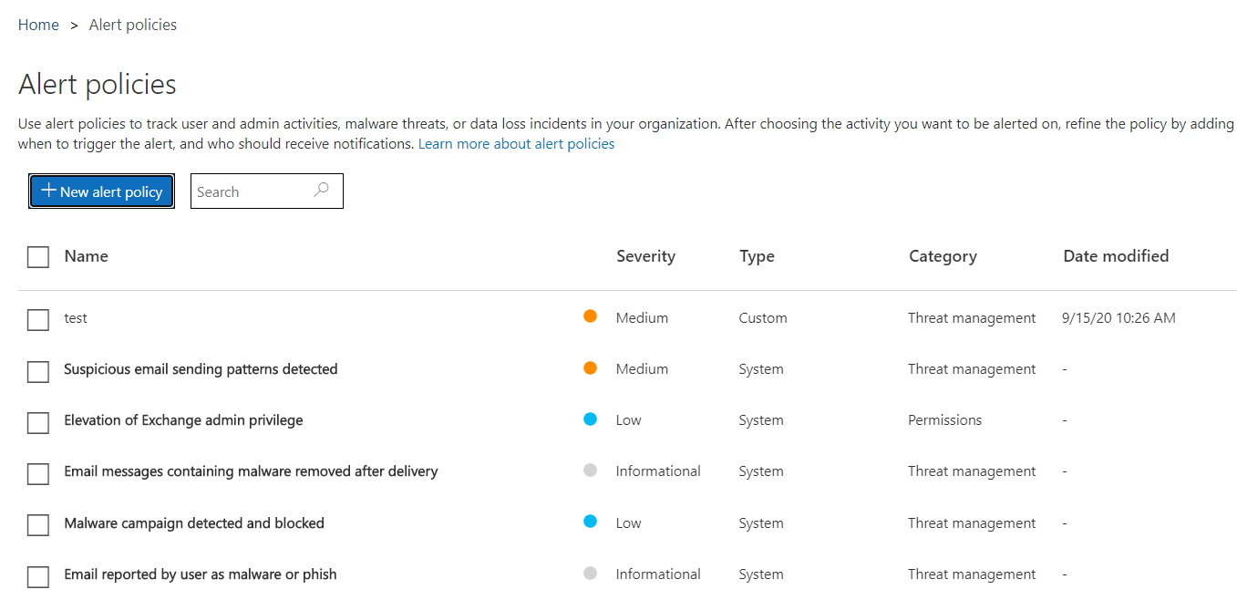 Microsoft 365 Compliance Center Alert Policies