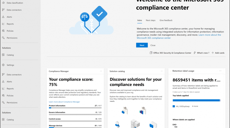 Microsoft 365 Compliance Center Home
