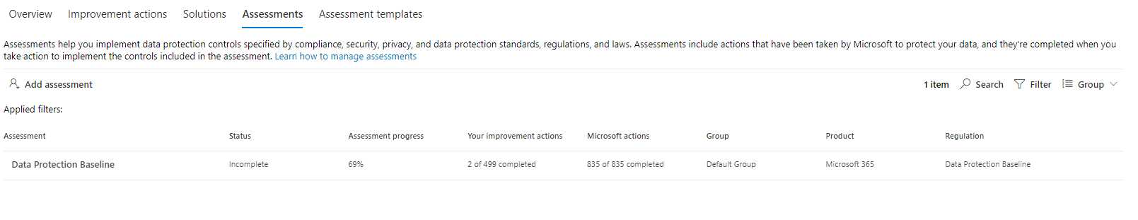 Microsoft 365 Compliance Manager Assessments