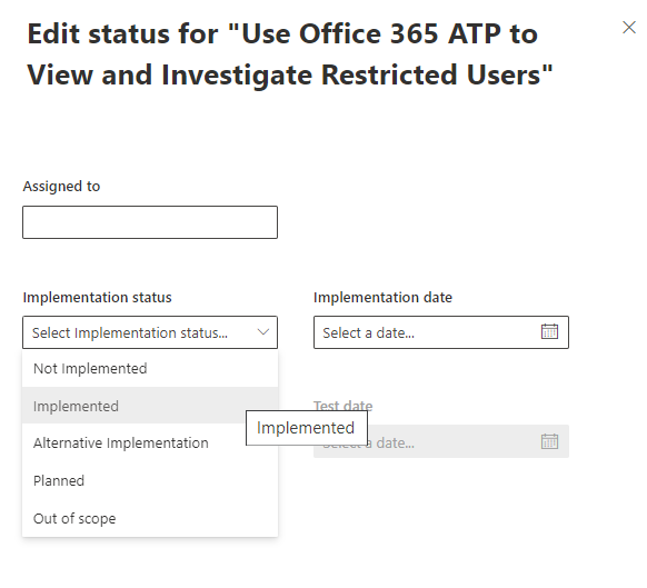 Microsoft 365 Compliance Manager Edit Status