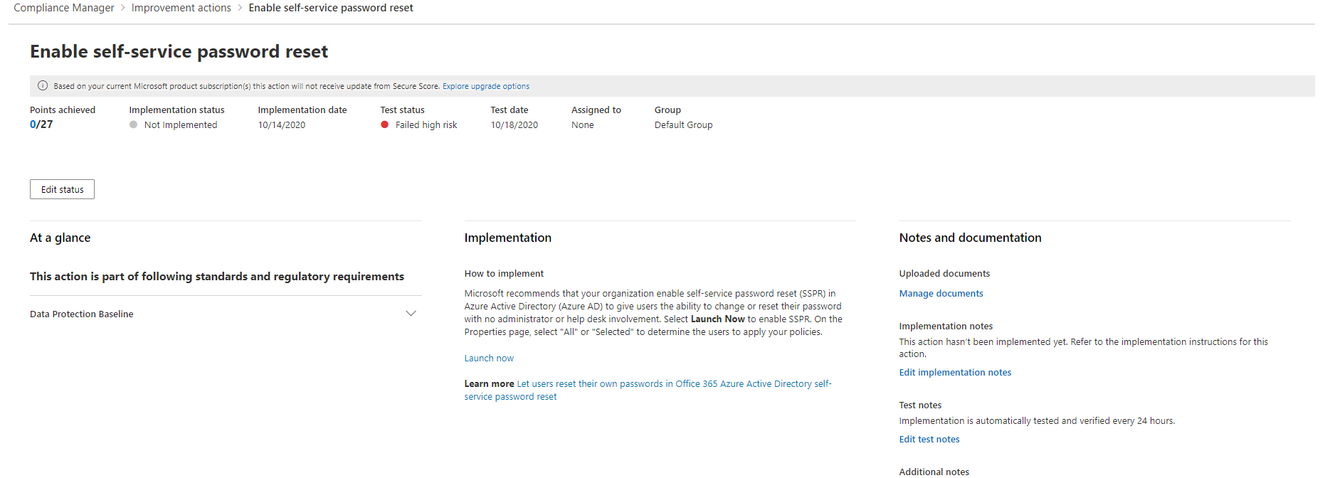 Microsoft 365 Compliance Manager Example Improvement Action