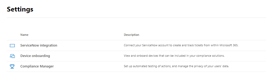 Microsoft 365 Compliance Manager Settings