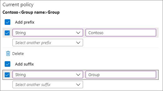 Microsoft 365 Group Prefix and Suffix