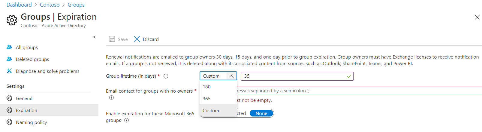 Microsoft 365 Groups Expiration Policy