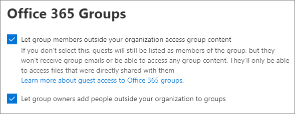 Microsoft 365 Groups Guest Settings