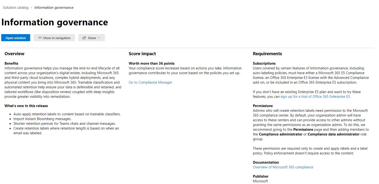 Microsoft 365 Information Governance Details