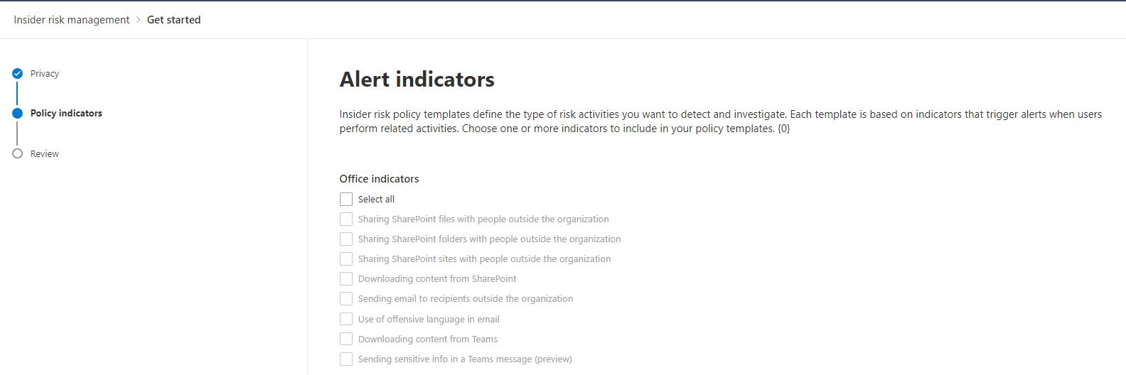 Microsoft 365 Insider Risk Management Alert Indicators