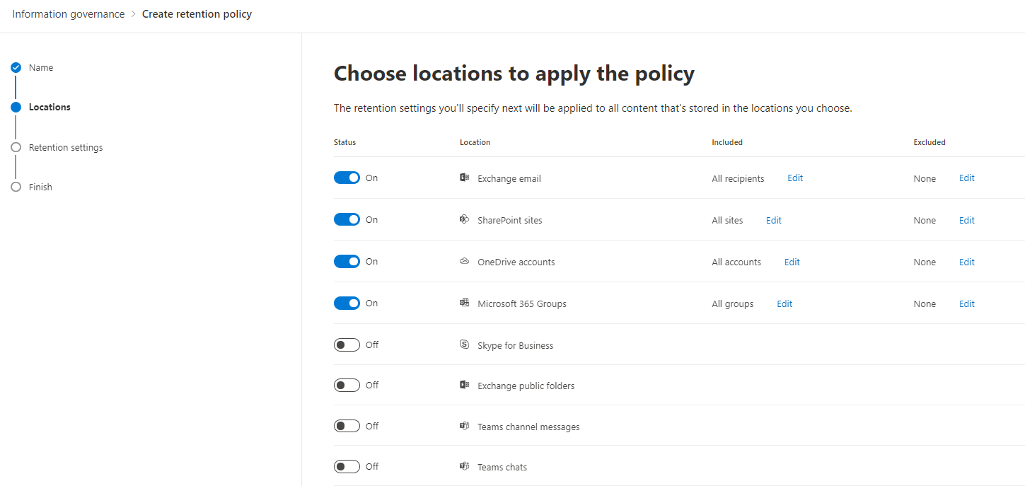 Microsoft 365 Retention Policy Locations