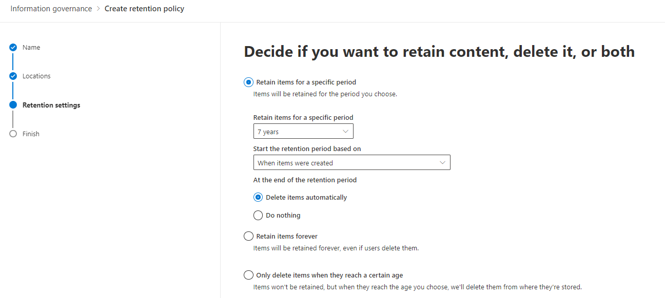 Microsoft 365 Retention Policy Options
