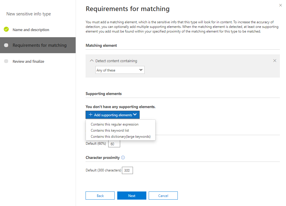 Microsoft 365 Sensitivity Info Types Requirements for Matching