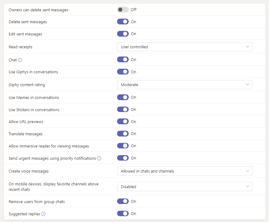 Microsoft Teams Messaging Policies