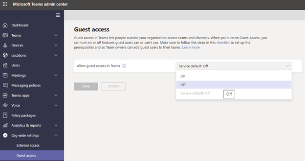 Microsoft Teams Guest Access Switch