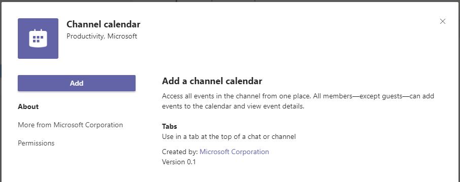 Teams Channel Calendar
