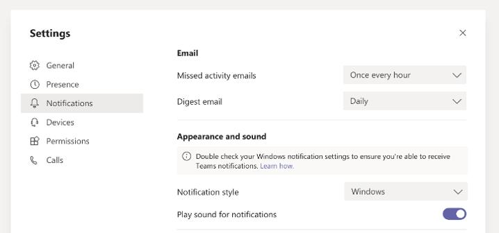 Teams Windows 10 Notifications