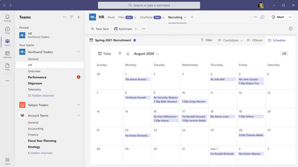 Lists Calendar View in Teams
