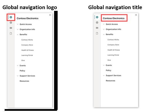 SharePoint app bar global navigation logo and title