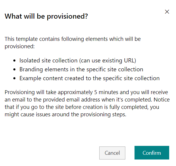 SharePoint look book - Confirm provisioning