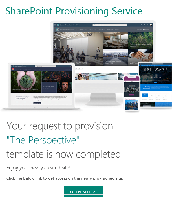 SharePoint look book -E-mail confirmation