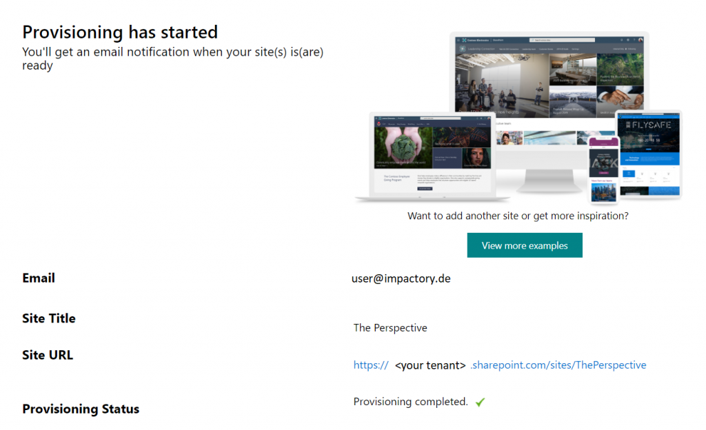 SharePoint look book - Provisioning completed