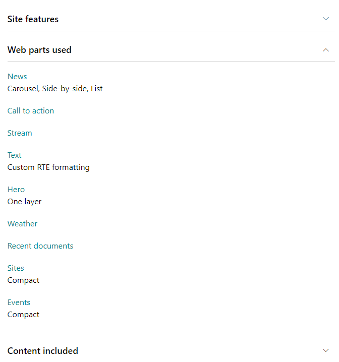 SharePoint look book - Web parts used
