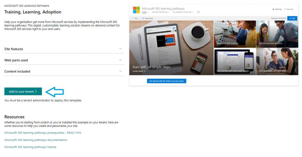 Microsoft 365 Learning Pathways - Add to your tenant