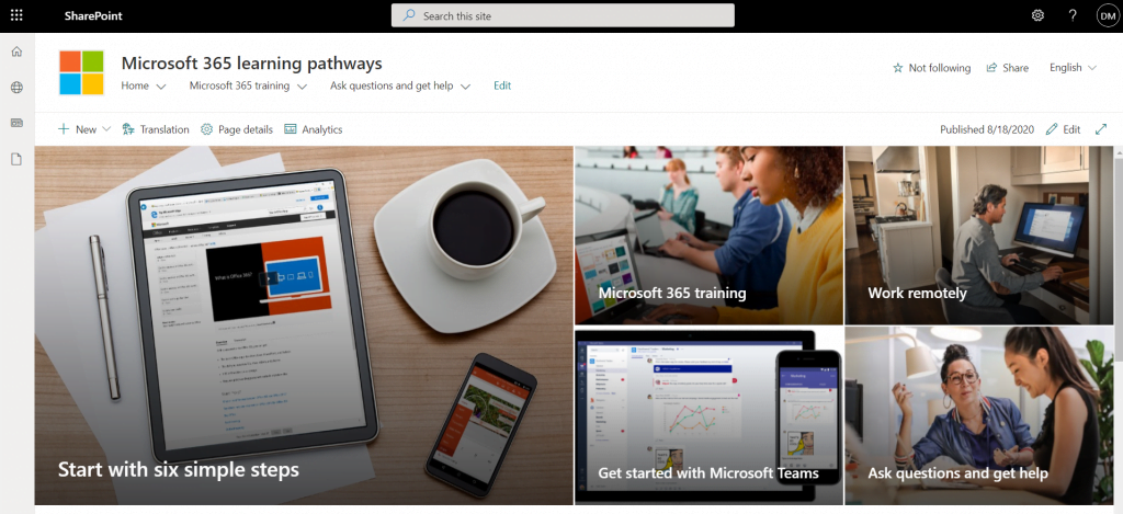 Microsoft 365 Learning Pathways Home Page