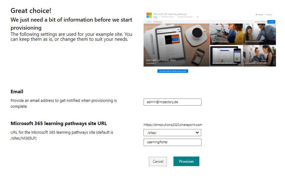 Microsoft 365 Learning Pathways provisioning settings