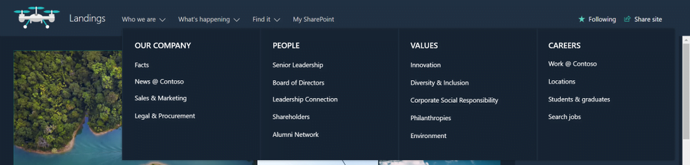 SharePoint Mega Menus